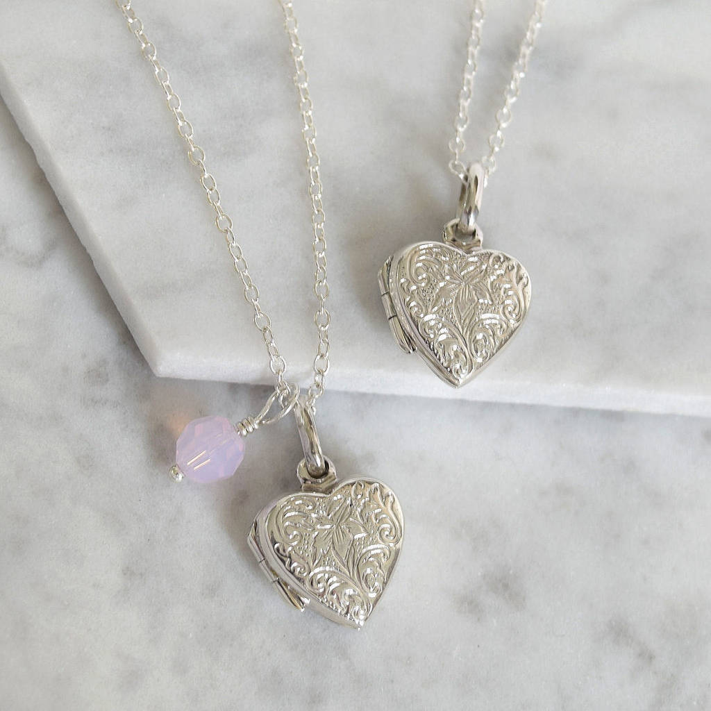 Sterling Silver Etched Heart Locket By Mia Belle