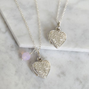 Sterling Silver Etched Heart Locket - necklaces & pendants