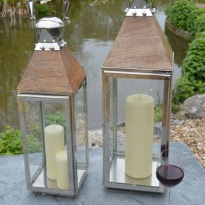 Stainless Steel And Wood Garden Lantern - lighting