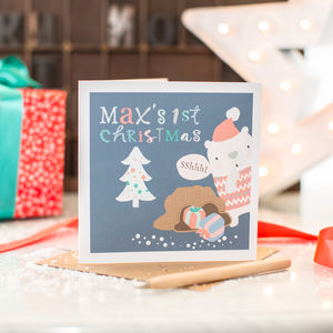 Personalised Baby's First Christmas Santa Bear Card