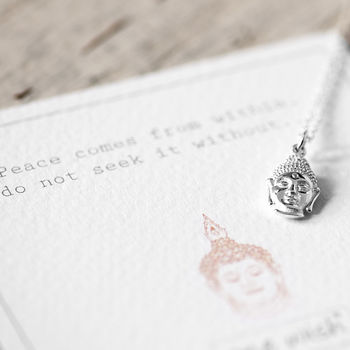 Buddha Head Necklace In Sterling Silver