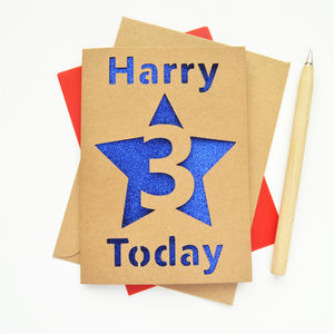 Personalised Children's Age Glitter Cut Out Card - 1st birthday cards