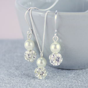 Glitterball And Pearl Pendant And Earring Set