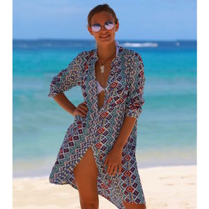 Mila Shirt Tunic Dress Rio Multi Print - kaftans & cover-ups