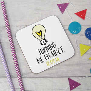 'Turning Me On Since' Wooden Coaster - placemats & coasters