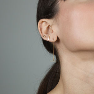 Gold T Bar Drop Earrings
