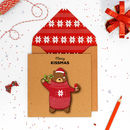 Handmade Christmas Bear Personalised Card Or Pack