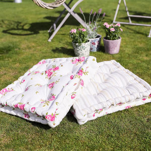 Pair Of Cotton Rose Floor Mattress Cushions - floor cushions & beanbags