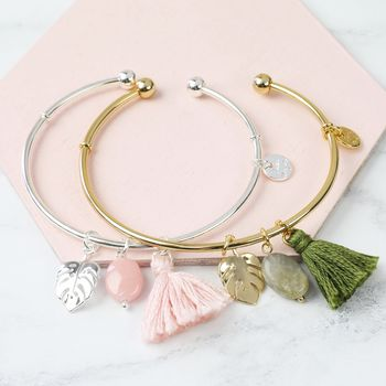 Tassel And Leaf Charm Bangle