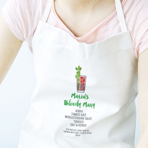 Personalised Bloody Mary Cocktail Recipe Apron - what's new