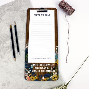 Personalised Floral Design Clip Board And Notepad - new in home