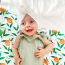Personalised Botanical Orange Swaddle Blanket