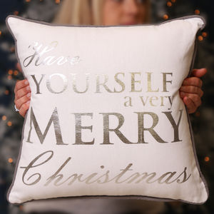 Personalised Silver And White Merry Christmas Cushion - living room
