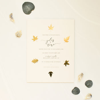 Gold Leaf Wedding Invitation