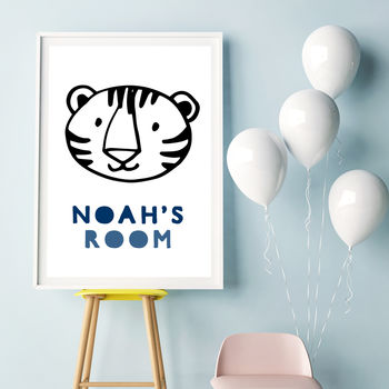 Tiger Personalised Boys Bedroom Name Print