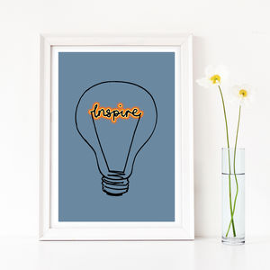 Gift For A Teacher, 'Inspire' Lightbulb Art Print - prints & art sale
