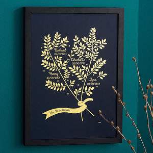 Personalised Metallic Family Branches Print - canvas prints & art