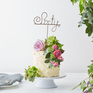 Sixty Wire Birthday Cake Topper - 60th birthday gifts