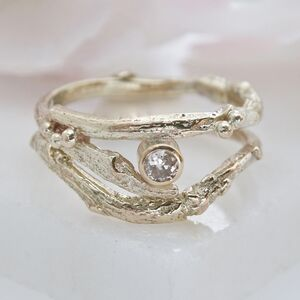 Diamond And Gold Twig Engagement And Wedding Ring Set