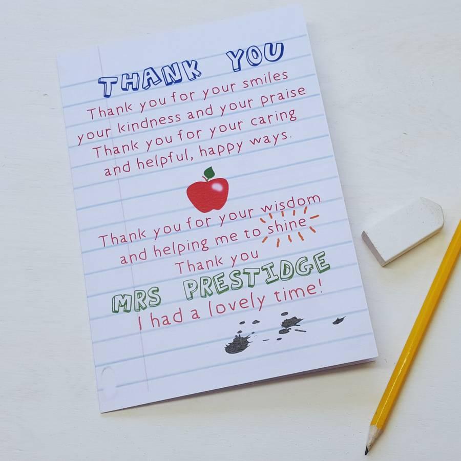 Teacher Thank You Poem Card on Apple Poems For Teachers