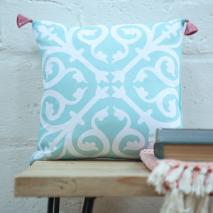 Moroccan Tile Cushion In Duck Egg Blue