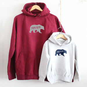 'Papa Bear' And 'Baby Bear' Hoodie Set - christmas jumpers