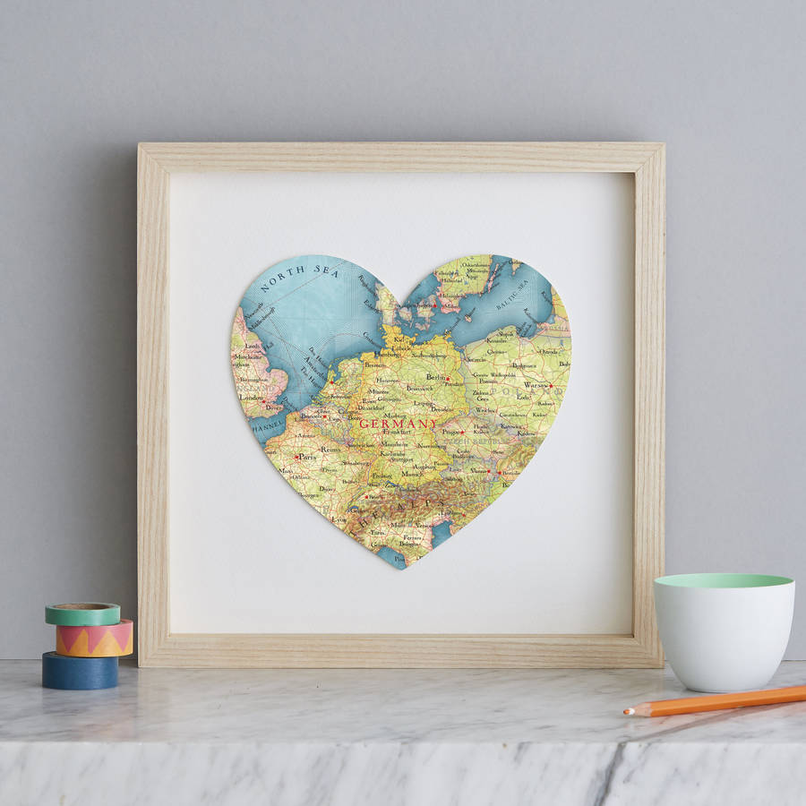 Map Of Germany To Print.Personalised Location Germany Map Heart Print