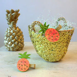 Mini Gold Summer Basket And Pineapple Hair Clip