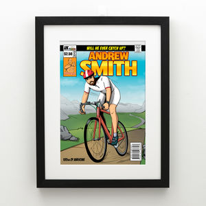 Personalised Man Cycling Comic Book Cover Print
