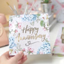 Happy Anniversary Botanical And Gold Greeting Card