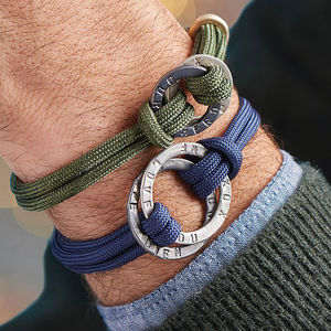 Men's Personalised Entwined Halo Bracelet - frequent traveller