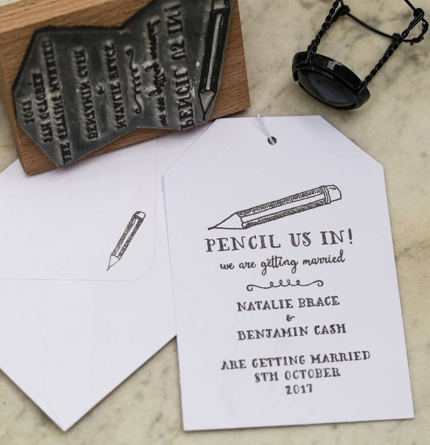 Pencil Us In Save The Date Stamp
