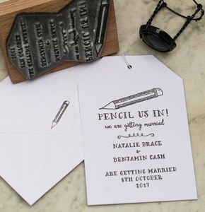 Pencil Us In Save The Date Stamp - wedding favours