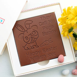 Personalised 'Pugs Bunny' Easter Chocolate Card - new in food & drink