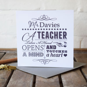 Personalised Teacher Gift Card - gifts for teachers