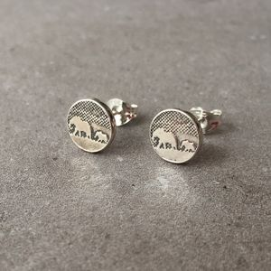 Sterling Silver Mother And Baby Elephant Stud Earrings - earrings