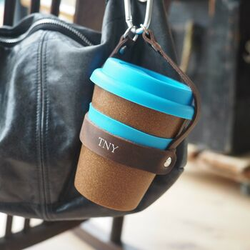 Personalised Reusable Cup And Carrier In Leather