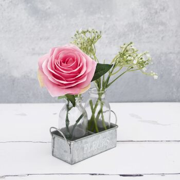Rose Bouquet In Metal Container