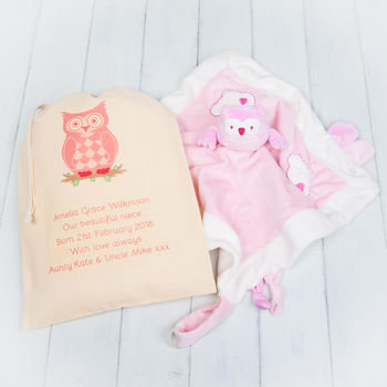 Pink Owl Baby Comfort Blanket And Personalised Gift Bag
