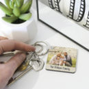 Personalised Square Photo Message Keyring Gift