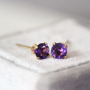 Amethyst Stud Earrings - fine jewellery