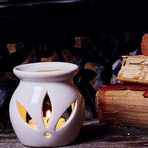 White Ceramic Oil Burner - table decoration