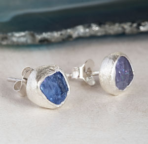 Genuine Tanzanite Rough Gemstone Earrings - earrings