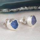 Genuine Tanzanite Rough Gemstone Earrings