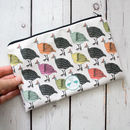 Colourful Guineafowl Large Lined Cotton Pencil Bag