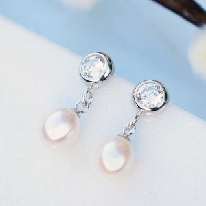 Bezel Cubic Zirconia And Pearl Drop Earrings