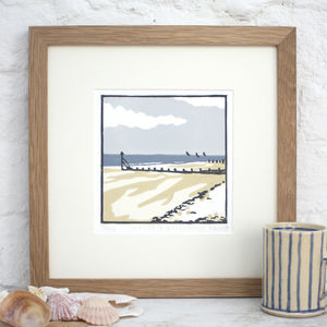 Coastal Beach Art Print 'Low Tide At West Wittering' - nature & landscape