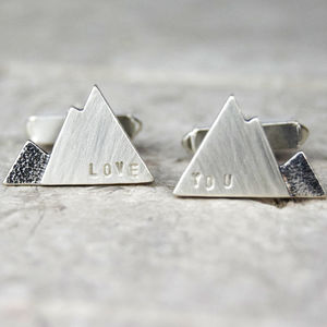 Personalised Silver Mountain Cufflinks - cufflinks