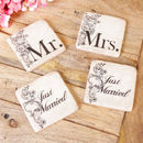 Set Of Four Mr And Mrs Just Married Gift Coasters