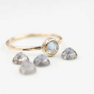 Borealis Ring // Labradorite And 9ct Gold Stacking Ring - rings